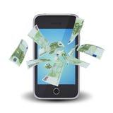 O Euro nota o voo em torno do telefone esperto Foto de Stock