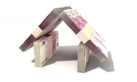 O Euro nota a perspectiva da casa Imagem de Stock Royalty Free
