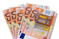 O Euro 50 notas da moeda isolou o branco Imagem de Stock