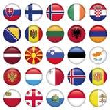 O europeu abotoa-se em volta das bandeiras Fotografia de Stock