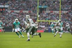 O Ew York jorra jogo internacional da série contra os Miami Dolphins Fotografia de Stock Royalty Free