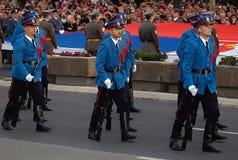 O exército sérvio guarda a unidade em march-1 Fotos de Stock Royalty Free