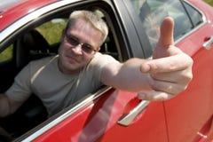 O excitador irritado mostra o gesto Foto de Stock Royalty Free