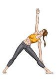 Menina em uma pose do triângulo da ioga (trikonasana de Utthita) ilustração stock
