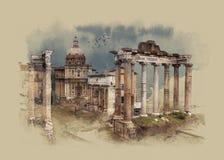 O fórum romano em Roma, Itália, esboço da aquarela