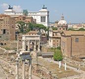 O fórum transversalmente ao monumento de Vittorio Emanuele Fotografia de Stock
