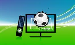 O fósforo de futebol na tevê ostenta a canaleta ilustração do vetor