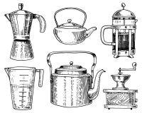 O fabricante de café ou o moedor, francês pressionam, medindo a capacidade, o bule chinês ou a chaleira Utensílios do cozinheiro  ilustração stock