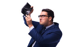 O falido quebrou o homem de negócios com a carteira vazia no fundo branco imagens de stock royalty free