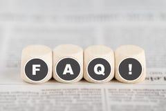 O FAQ da frase em cubos Foto de Stock Royalty Free