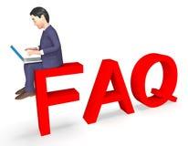 O FAQ do caráter mostra perguntas e a rendição frequentemente feitas do conselho 3d Imagens de Stock