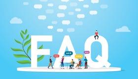 O FAQ pediu frequentemente o conceito da pergunta com povos da equipe e texto grande das palavras com conversa??o do discurso da  ilustração royalty free