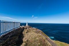 O farol da lança do cabo em Terra Nova, Canadá Imagens de Stock