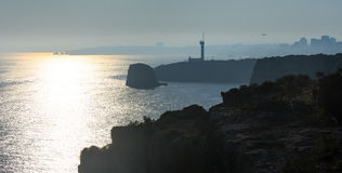 O farol de Ponta faz o altar Lagoa, Portugal Fotos de Stock