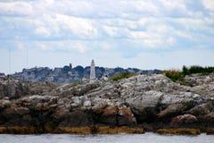 O farol do porto de Boston é o farol o mais velho em Nova Inglaterra Foto de Stock