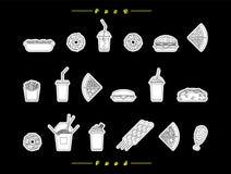 O fast food ajustou 7 Ilustração Stock