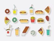O fast food ajustou 7 Ilustração Royalty Free