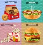 O fast food ajustou-se com hamburguer, cachorro quente, e batatas fritas Ilustrações 3d realísticas do vetor ilustração royalty free