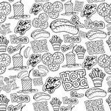 O fast food do desenho da mão rabisca o teste padrão Imagens de Stock