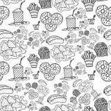 O fast food do desenho da mão rabisca o teste padrão Imagens de Stock Royalty Free