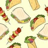 O fast food rabisca o teste padrão sem emenda bonito C?pia do vetor ilustração do vetor