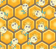 O favo de mel do hexágono gerencie o teste padrão sem emenda da abelha da forma Imagem de Stock