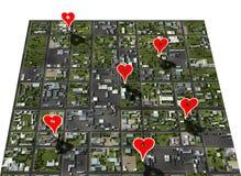 O favorito de Placemark coloc o marcador do lugar do mapa da cidade fotografia de stock