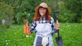 O fazendeiro fêmea feliz era de escavação e guardando a colheita das cenouras colhidas de seu lote do jardim Tradições de ecológi video estoque