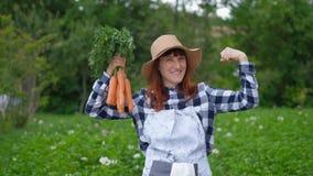 O fazendeiro fêmea feliz era de escavação e guardando a colheita das cenouras colhidas de seu lote do jardim Tradições de ecológi vídeos de arquivo
