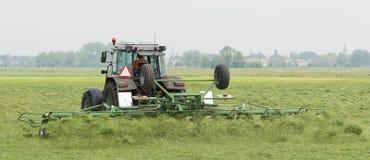 O fazendeiro usa o trator para espalhar o feno no campo foto de stock royalty free
