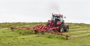 O fazendeiro usa o trator para espalhar o feno no campo imagem de stock royalty free
