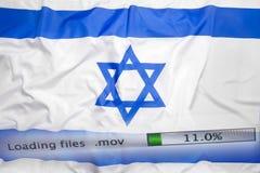 O fazendo download arquiva em um computador, bandeira de Israel Imagens de Stock