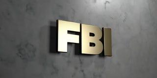 O Fbi - sinal do ouro montado na parede de mármore lustrosa - 3D rendeu a ilustração conservada em estoque livre dos direitos Fotografia de Stock Royalty Free