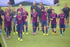 O FC Barcelona team a apresentação Imagens de Stock