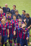 O FC Barcelona team a apresentação Fotos de Stock