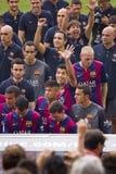 O FC Barcelona team a apresentação Foto de Stock Royalty Free
