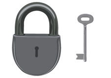 O fechamento e a chave Foto de Stock Royalty Free