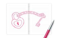 O fechamento e a porta-chaves do coração amam o desenho da mão do símbolo dos pares pela cor com caderno, projeto do rosa do esbo Fotos de Stock