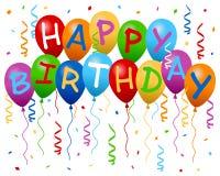 O feliz aniversario Balloons a bandeira Fotos de Stock
