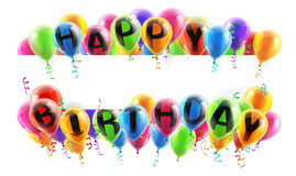 O feliz aniversario Balloons a bandeira Imagem de Stock Royalty Free