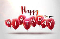 O feliz aniversario balloons a celebração Projeto da decoração da festa de anos Baloons festivos que rotulam o molde Imagem de Stock Royalty Free