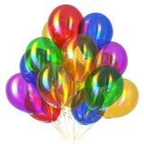O feliz aniversario balloons lustroso colorido da decoração do partido ilustração royalty free