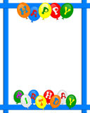 O feliz aniversario Balloons o frame da beira Fotografia de Stock