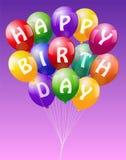O feliz aniversario Balloons o rosa Fotos de Stock Royalty Free