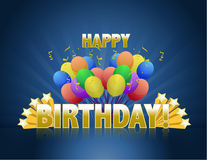 O feliz aniversario balloons o sinal do logotipo Imagem de Stock Royalty Free