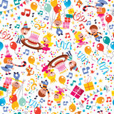 O feliz aniversario caçoa o teste padrão do partido Fotografia de Stock
