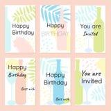 O feliz aniversario e o convite vector cartões em um estilo minimalista ilustração stock