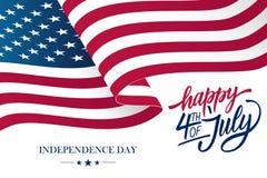 4o feliz do cartão do Dia da Independência de julho EUA com ondulação da rotulação americana da bandeira nacional e da mão ilustração royalty free