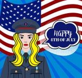 4o feliz do Dia da Independência de julho EUA - cartão com ondulação da bandeira nacional americana ilustração royalty free