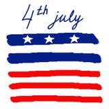 4o feliz do fundo do espaço do texto do Dia da Independência de julho EUA Ilustração desenhada mão Imagens de Stock